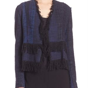 Elie Tahari Misha tweed jacket with fringe